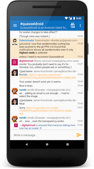 Screenshot of Quasseldroid on a phone